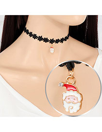 Fashion Multi-color Santa Claus Pendant Decorated Hollow Out Folower Simple Choker