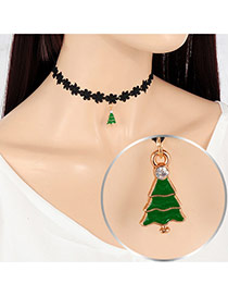 Fashion Green+black Christmas Tree Pendant Decorated Hollow Out Folower Simple Choker