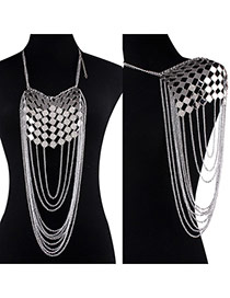 Exaggerate Silver Color Pure Color Design Hollow Out Simple Body Chain& Shoulder Chain