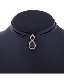 Elegant Black Waterdrop Gemstone Pendant Decorated Double Layer Choker