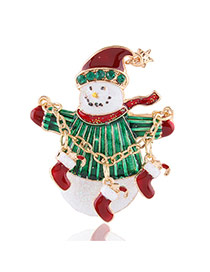 Lovely Multi-color Metal Father Christmas Decorated Simple Brooch