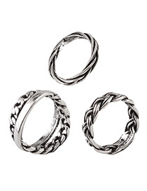 Vintage Silver Color Weaving Design Pure Color Simple Rings(3pcs)