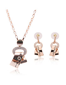 Delicate Rose Gold Bend Shape Pendant Decorated Long Chain Jewerly Sets