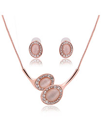 Elegant Rose Gold Round Shape Pendant Decorated Long Chain Jewelry Sets