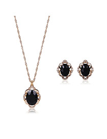 Elegant Black Oval Shape Pendant Decorated Simple Long Chain Jewelry Sets