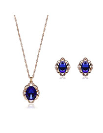 Elegant Sapphire Blue Oval Shape Pendant Decorated Simple Long Chain Jewelry Sets