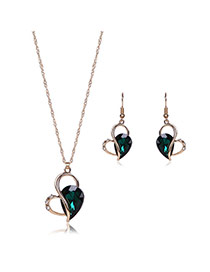 Elegant Green Oval Shape Diamond Decorated Long Chain Jewelry Sets