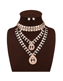 Exaggerate Gold Color Diamond Decorated Waterdrop Shape Design Simple Jewelry Sets