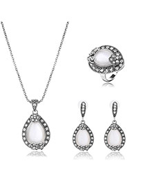 Elegant Silver Color Waterdrop Shape Pendant Decorated Long Chain Jewelry Sets