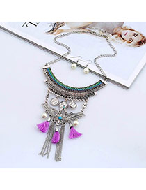 Bohemia Purple Metal Round Shape & Tassel Decorated Multilayer Jewelry Sets