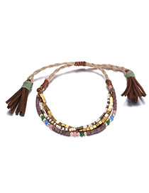 Bohemia Coffee Square Shape Decorated Tassel Simple Bracelet