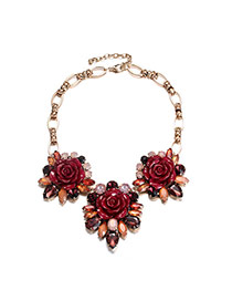Exaggerate Red Flower Shape Decorated Short Chain Simple Neckalce