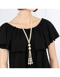 Elegant White Tassel Pendant Decorated Double Layer Necklace