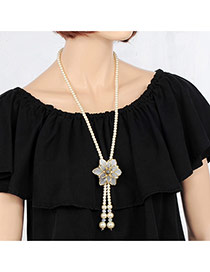 Elegant White Flower&tassle Pendant Decorated Long Chain Necklace
