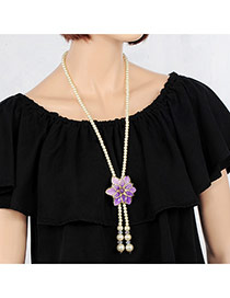 Elegant Purple Flower&tassle Pendant Decorated Long Chain Necklace