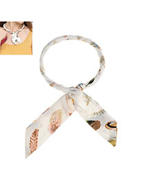 Sweet White Feather Pattern Decorated Bowknot Shape Multi-function Scarf