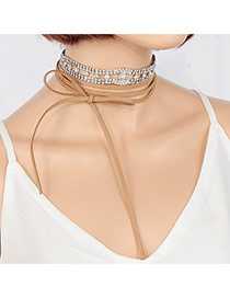 Elegant Khaki Diamond Decorated Color Matching Double Layer Choker