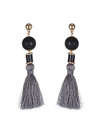 Bohemia Gray Round Shape Decorated Tassel Long Earrings
