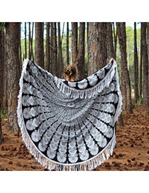 Fashion Black+white Geometric Flowe Pattern Decorated Tassel Yoga Mat&shawl