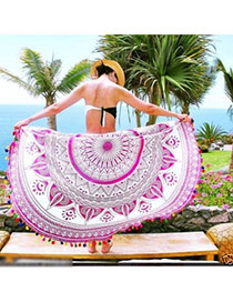 Fashion Pink Geometric Flowe Pattern Decorated Tassel Yoga Mat&shawl