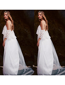 Sweet White Off-the-shoulder Decorated Hollow Out Lace Wedding Dresses
