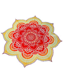 Fashion Red Flower Pattern Decorated Regular Shape Yoga Mat&shawl