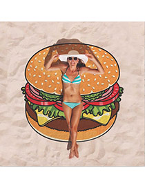 Fashion Yellow Hamburger Shape Pattern Decorated Cartton Yoga Mat&shawl