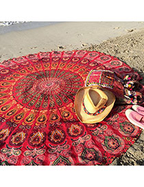 Fashion Red Peacock Flower Pattern Decorated Round Shape Shawl