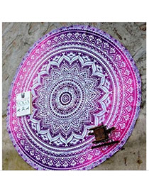Fashion Plum Red Geometric Flowe Pattern Decorated Round Shape Shawl