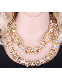 Elegant Champagne Geometric Shape Diamond Decorated Double Layer Necklace