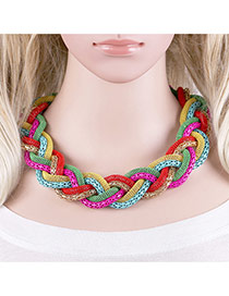 Bohemia Multi-color Color Matching Decorated Hand-woven Design Necklace