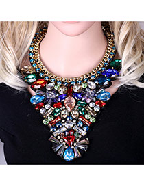 Luxury Multi-color Geometric Diamond Weaving Decorated Short Chain Necklace