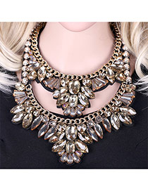 Luxury Champagne Double Layer Geometric Diamond Decorated Short Chain Necklace