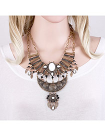Bohemia Antique Gold Hollow Out Geometric Pendant Decorated Short Chain Necklace