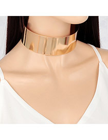 Exaggerated Gold Color Pure Color Decorated Simple Design Choker