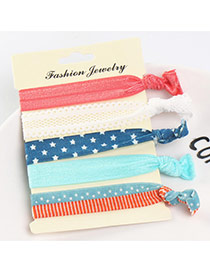 Sweet Multi-color Star&lace Pattern Decorated Knot Hair Band(5pcs)