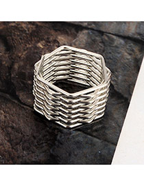 Vintage Silver Color Geometric Shape Decorated Simple Spring Ring