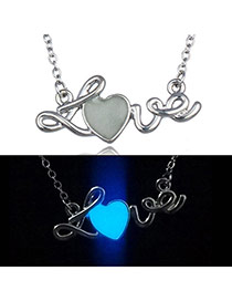 Fashion Blue Heart Shape&letter Pendant Decorated Collarbone Necklace