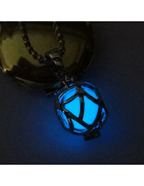 Fashion Dark Blue Hollow Out Ball Shape Pendant Decorated Simple Necklace