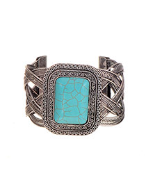 Elegant Silver Color Square Gemstone Decorated Opening Design Bracelet