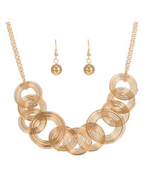 Elegant Gold Color Spiral Weaving Pendant Decorated Simple Jewelry Sets