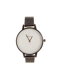 Fashion White Spiral Lines Decorated Round Shape Dial Plate Design Watch