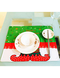 Lovely Red+white Snowflake&boots Pattern Decorated Square Shape Simple Table Mat