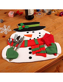 Lovely Red+white Flower Decorated Christmas Snowman Shape Table Mat