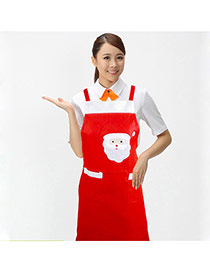 Lovely Red Father Christmas Pattern Decorated Color Matching Simple Apron