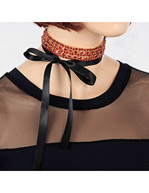 Fashion Red Round Shape Diamond Decorated Hollow Out Design Tether Choker