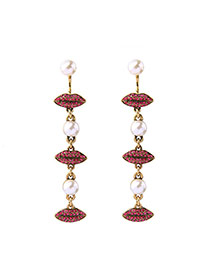 Fashion Antique Gold+red Lip&pearls Decorated Symmetrical Design Earrings