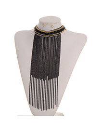 Fashion Black Long Tassel Pendant Decorated Color Matching Jewelry Sets