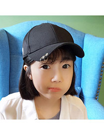 Fashion Blue Letter Patern Decorated Pure Color Baseball Cap