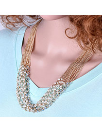 Fashion White Pears Decorated Multi-layer Short Chian Necklace